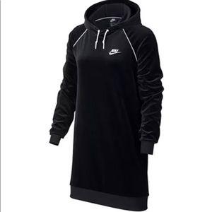 Nike Velour Hoodie Sweatshirt Dress Black …